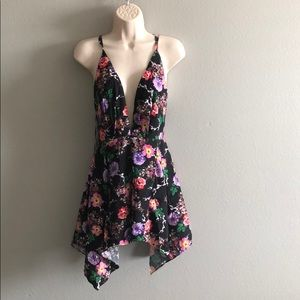 LF Seek the Label Black Floral Flowy Romper